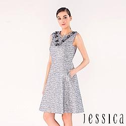 JESSICA - 立體花朵珠飾設計修身洋裝(藍)