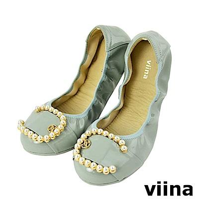 viina-典雅C型珍珠摺疊鞋-氣質灰藍