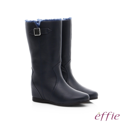effie 心機美型 真皮絨毛內增高奈米長靴 藍色
