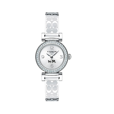 COACH 氣質時尚璀鑽LOGO帶腕錶/銀/ 14502201