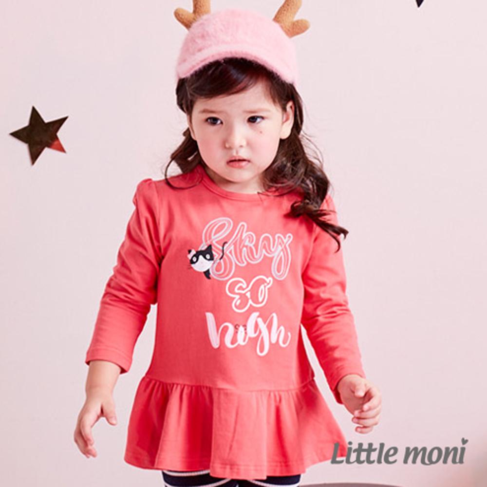 Little moni 貓咪印圖荷葉襬上衣 (共2色)