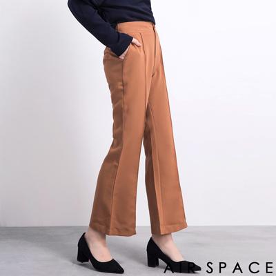 AIR-SPACE-氣質摺線高腰西裝寬褲-卡其