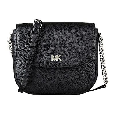 MK MICHAEL KORS MOTT銀字MK金屬LOGO牛皮鏈帶釦式斜背包(黑)