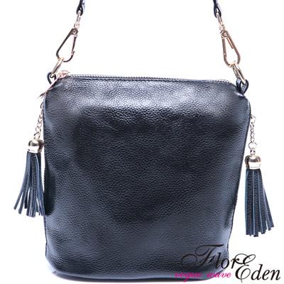 DF Flor Eden 完美心機小巧真皮款<b>2</b>用側肩包-時尚黑