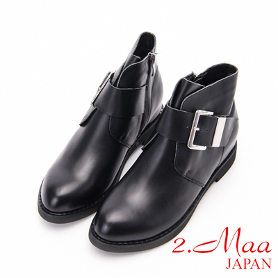 2.Maa - 率性金屬扣環內增高牛皮短靴-黑