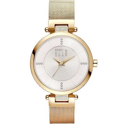 ELLE 質感晶鑽米蘭帶時尚手錶-淡金/34mm