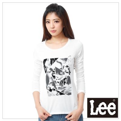 Lee-長袖T恤-黑白照片印刷-女款-米白