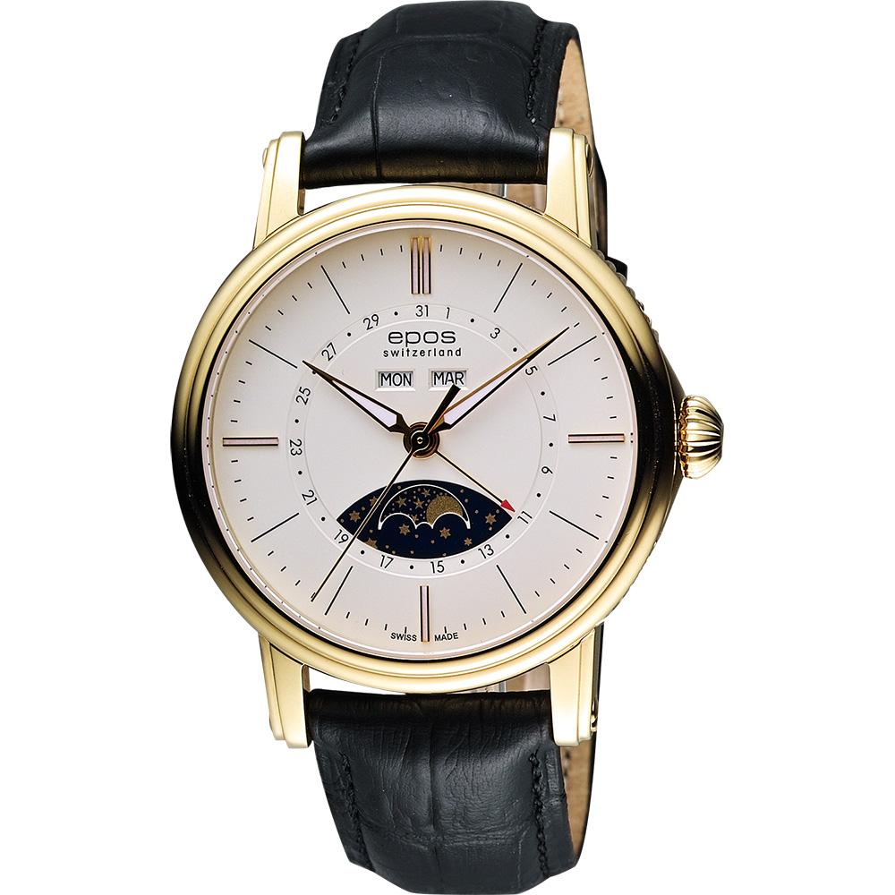 epos 月相盈虧 Day-Date 經典機械腕錶-銀x金框/42mm