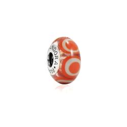 Pandora 潘朵拉 白色圓形彩繪橘色琉璃珠 純銀墜飾 串珠