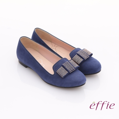 effie 濃情藝文 絨面蝴蝶貼鑽樂福平底鞋 藍