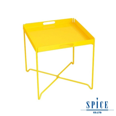 【日本 SPICE 】 戶外休閒 時尚 黃色 輕巧收納 托盤餐桌