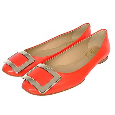 Roger Vivier橘色質感真皮經典金屬方框裝飾低跟鞋
