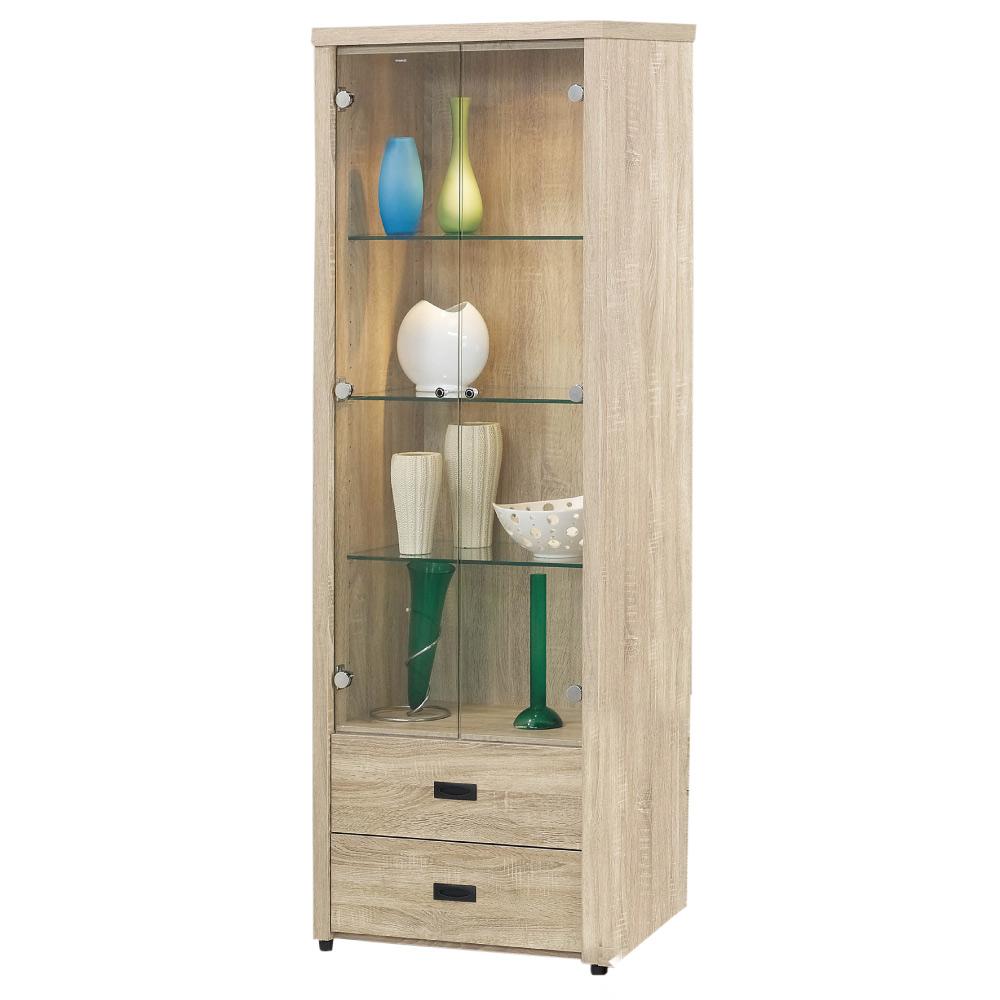 品家居 斑比2.1尺二抽展示櫃/收納櫃-64x39x182cm-免組