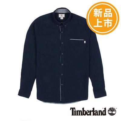 Timberland-男款深藍色素面單口袋長袖襯衫