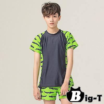 泳衣束胸 短袖鱷魚拼色泳衣褲組(4XL-6XL)  BIG-T