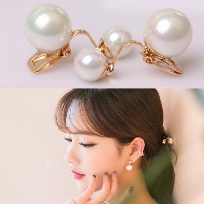 梨花HaNA-無耳洞經典熱銷雙面珍珠夾式耳環