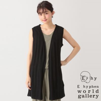 E-hyphen-world-gallery-素色中長版針織背心罩衫