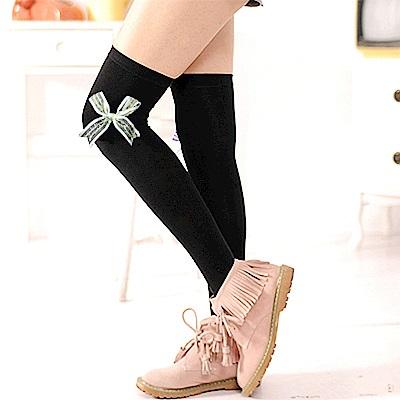 Aimee Toff 緞帶蝴蝶結墬亮造型膝上襪(淺綠)