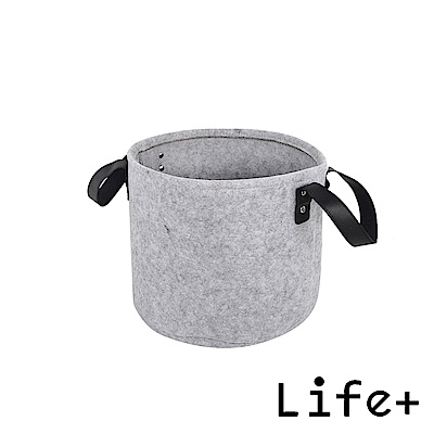 Life Plus 自然風素面圓款毛氈收納籃/置物籃 (灰色-S)