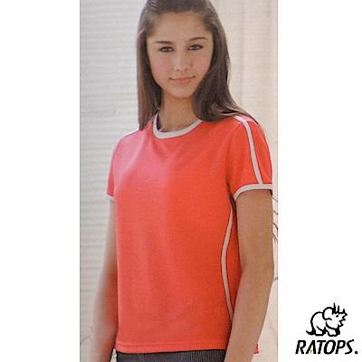 【瑞多仕-RATOPS】女款 輕量透氣圓領短袖T恤_DB7470 桔紅/米白 V