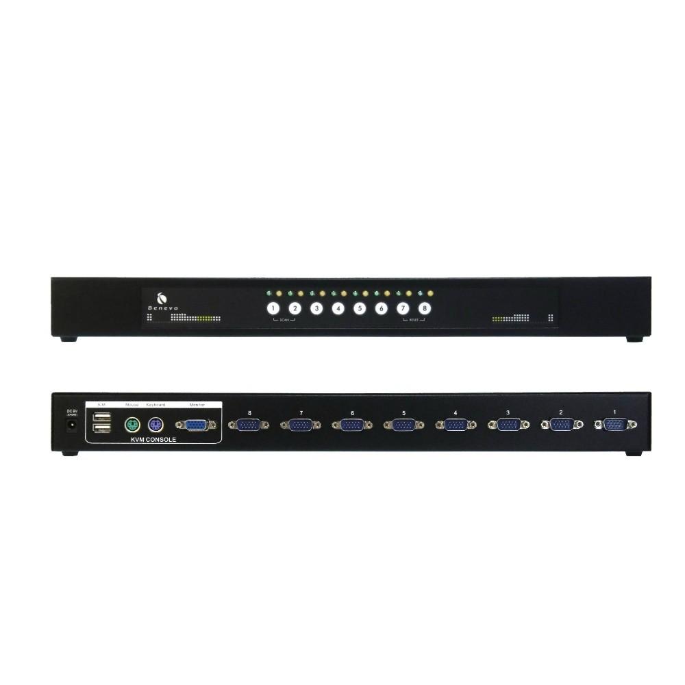 BENEVO BKVM108PUD 機架型 8埠USB&PS2雙介面KVM多電腦切換
