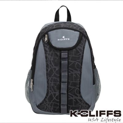 【美國K-CLIFFS】潮流繽紛雙肩後背包-優雅灰