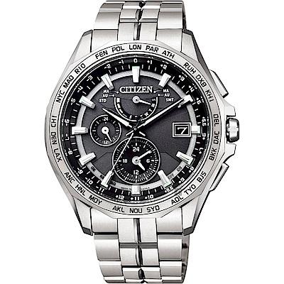 CITIZEN 星辰 光動能電波鈦金屬腕錶-灰x銀/42mm(AT9091-51H)