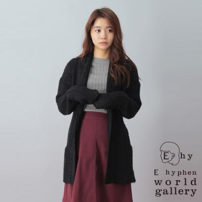 E hyphen 翻領綁帶設計針織罩衫外套