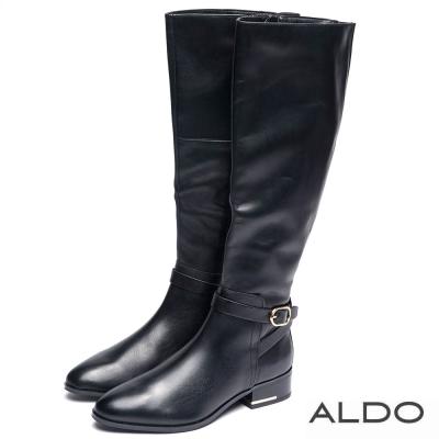 ALDO 黑色真皮橢圓金屬釦帶拉鍊長靴~尊爵黑色