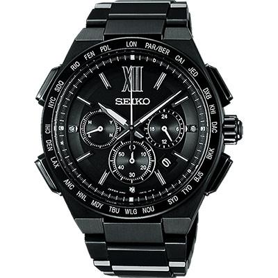 SEIKO Brightz 商務鈦金屬計時太陽能電波腕錶(SAGA211J)-黑/43mm