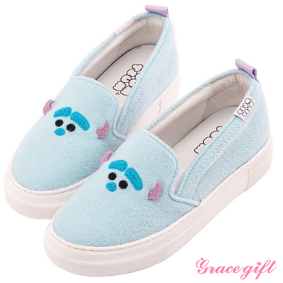 Disney collection by Grace gift立體拼接懶人休閒鞋 藍