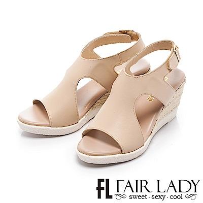 Fair Lady 簡約個性寬版草編楔型涼鞋 卡其