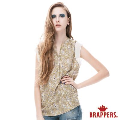 BRAPPERS 女款 半開襟印花背心-淺綠