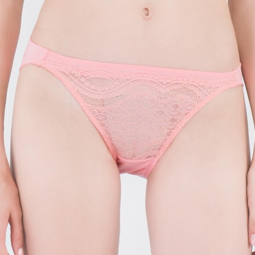 思薇爾 星願秘密系列M-XL蕾絲低腰三角內褲(霓粉橘)