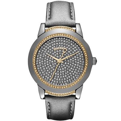 DKNY 耀眼銀河晶鑽腕錶-灰x金/32mm