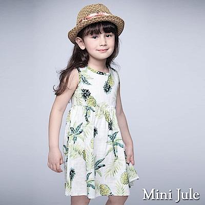 Mini Jule 童裝-洋裝 鳳梨葉子後釦背心洋裝(米白)
