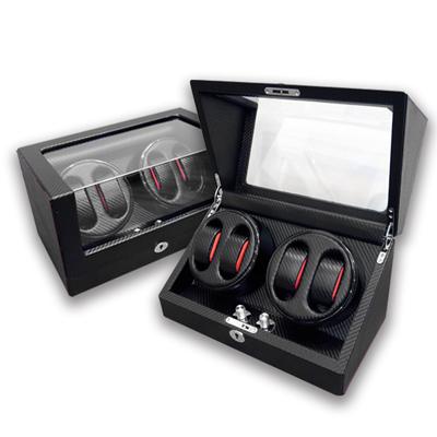 機械錶自動上鍊盒 2旋4入錶座轉動 高質感碳纖維 - 黑色