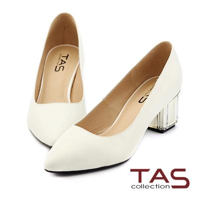 TAS-素面羊皮壓紋尖頭透明水晶跟鞋-簡約白