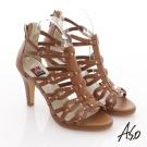 A.S.O 修身美型 真皮手工編織鉚丁羅馬涼鞋 咖