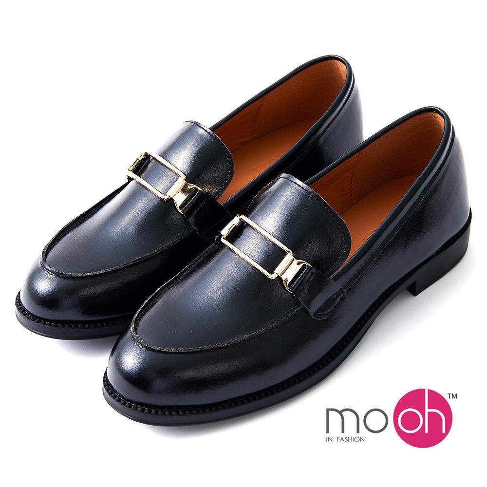 mo.oh -英倫金屬扣低跟皮鞋樂福鞋-黑色