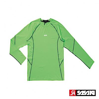 SASAKI 高彈力機能性運動緊身圓領長衫-男-艷綠/銀灰