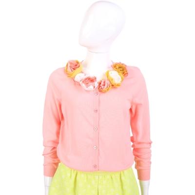 MOSCHINO 粉色立體花飾針織小外套