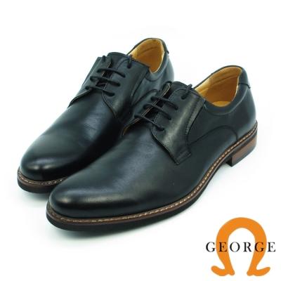 GEORGE 喬治-歐風型男鞋頭刷色素面綁帶紳士皮鞋-黑色