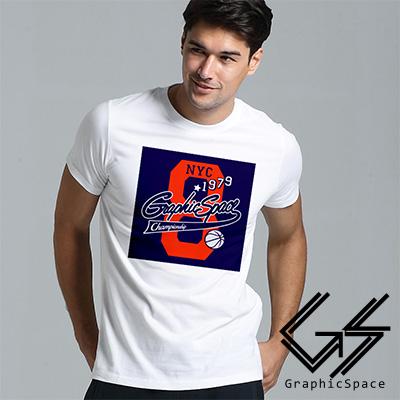 美式運動風藍球8號設計磨毛水洗T恤 (白色)-GraphicSpace