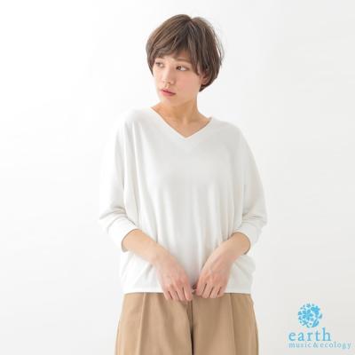 earth music 簡約素面V領五分袖上衣