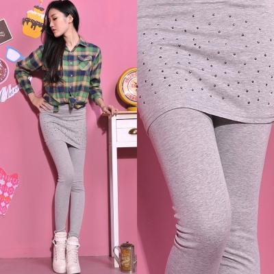 Aimee Toff 韓版氣質鉚釘素色棉質假兩件內搭褲裙(淺灰)