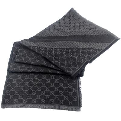 GUCCI 灰/鐵灰色 G LOGO雙色條紋羊毛混紡方形圍巾披肩(大)