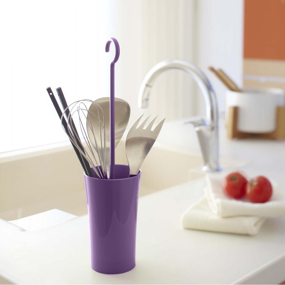 【YAMAZAKI】現代鄉村可掛式廚具瀝水籃-紫★餐具收納/廚房用品/瀝水架