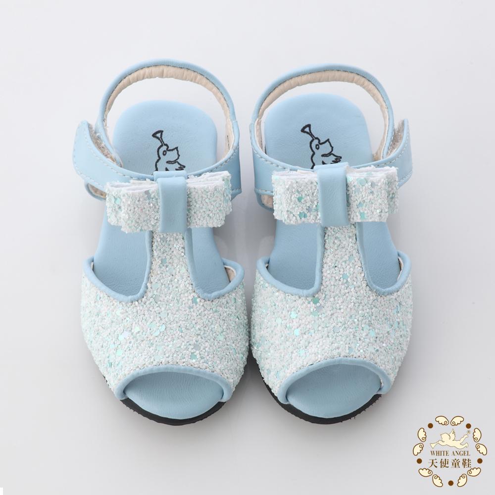 WhiteAngel天使童鞋-亮片蝴蝶結魚口涼鞋 冰雪藍