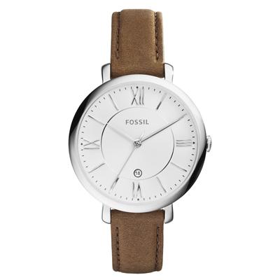 FOSSIL 網羅 日期 腕錶~白x淺褐皮帶 36mm